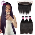 Grade 8a Malaysian Virgin Hair with Frontal Closure 13x4 Ear to Ear Lace Frontal ith Bundles Human Hair 3 Bundles With Closure