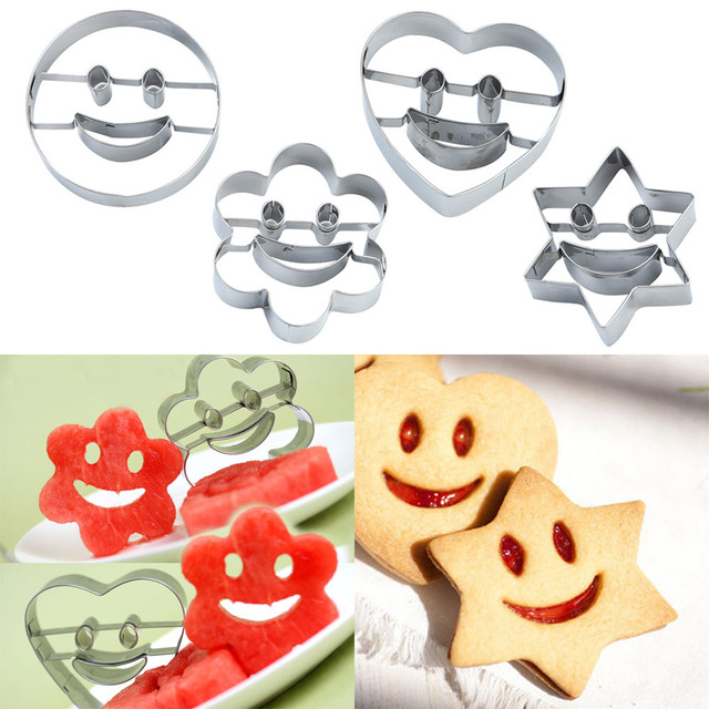 4Pcs/Set Cutter Mold Smiling Face Cookies Cutter Pastry Biscuit Cake Decorating Mold For Moulds Fruit Vegetable Cookie Tools