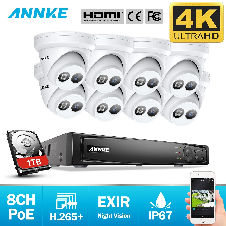 ANNKE 8CH 4K Ultra HD POE système de sécurité vidéo réseau 8MP H.265 + NVR avec 8X8 MP résistant aux intempéries caméra IP prise en charge 128G TF carte