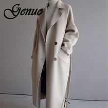 2019 Winter Coat Women Wide Lapel Belt Pocket Wool Blend Coat Oversize Long Trench Coat Outwear Wool Coat Women недорго, оригинальная цена