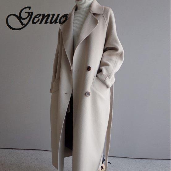 low priced 5380e e5dc7 2019 Winter Mantel Frauen Breite Revers Gürtel Tasche Wolle Mischung  Übergroßen Lange Trenchcoat Outwear
