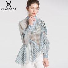 Perspective Shirt Ruffled Striped