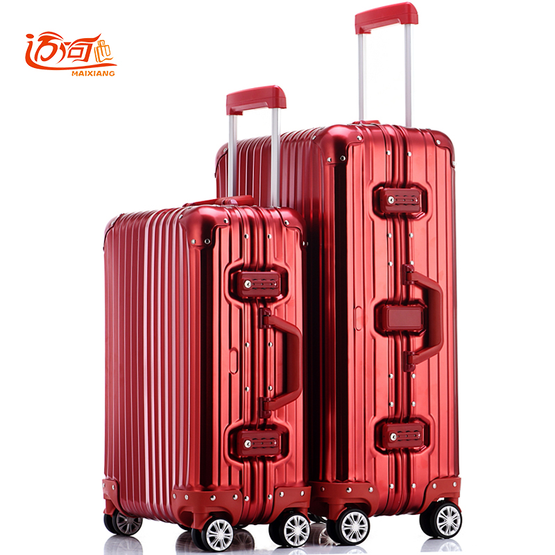 100% fully Aluminum-magnesium alloy vintage suitcase 20/25 inch trolley luggage water proof rolling case 20 25 29 aluminum magnesium alloy metal luggage fashion spinner rolling suitcase business aluminum frame luggage