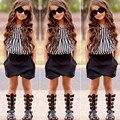VICVIK marca Meninas Set Verão das Crianças Listrado Tops + Shorts Set Crianças Roupas de Menina Crianças Casuais Respirável sapatos de Pano conjunto