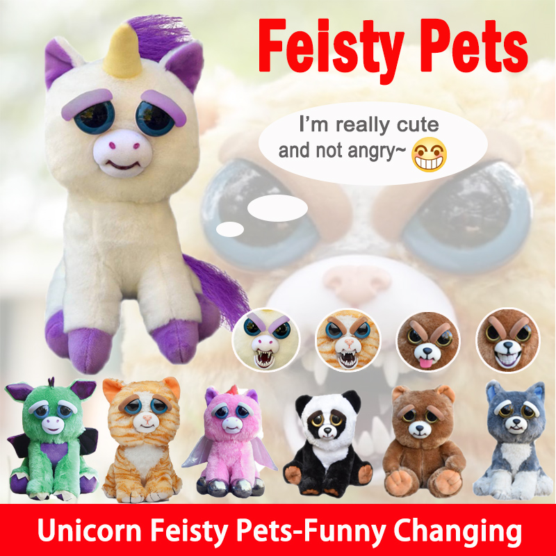 Cute Feisty Pets Plush Prank Toys with funny Expression Animal feistys Doll For boys girls unicorn Kids toy feisty pets