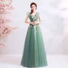 Green Prom Dresses 2019 Long Elegant V Neck A Line Tulle See Through Sleeveless Pink Floral Evening Gowns Walk Beside You