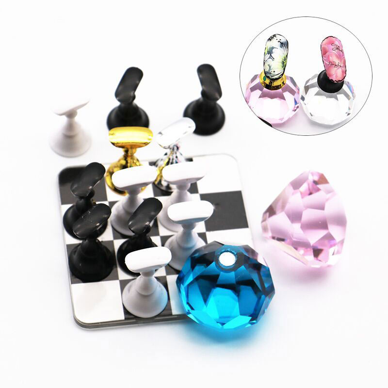 Nail Art Holder Set Acrylic Crystal Magnetic Chess Board Fake Nails Tips Gel Polish Practice False Display Manicure Tool SSwell