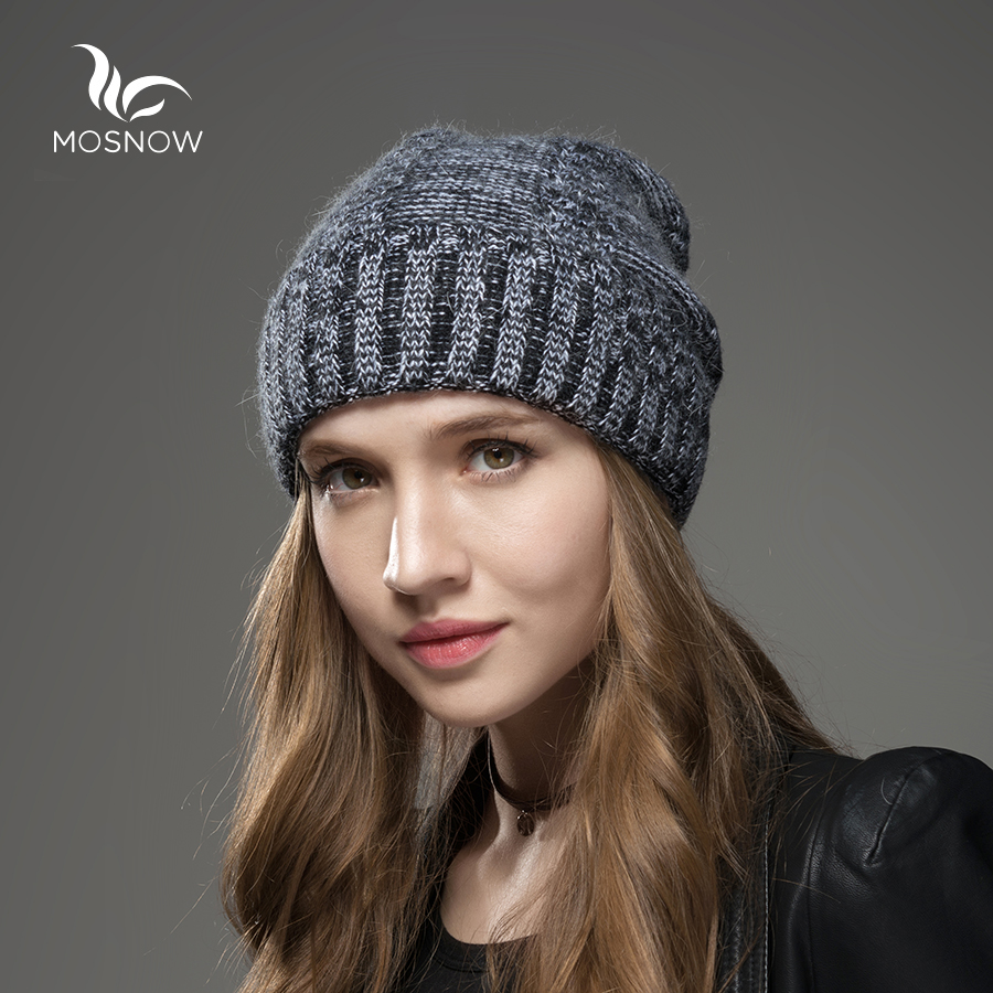 Mosnow New Wool Cashmere Hat Female Mix Color Women High Qualitywarm Vogue Brand Knitted Casual Winter