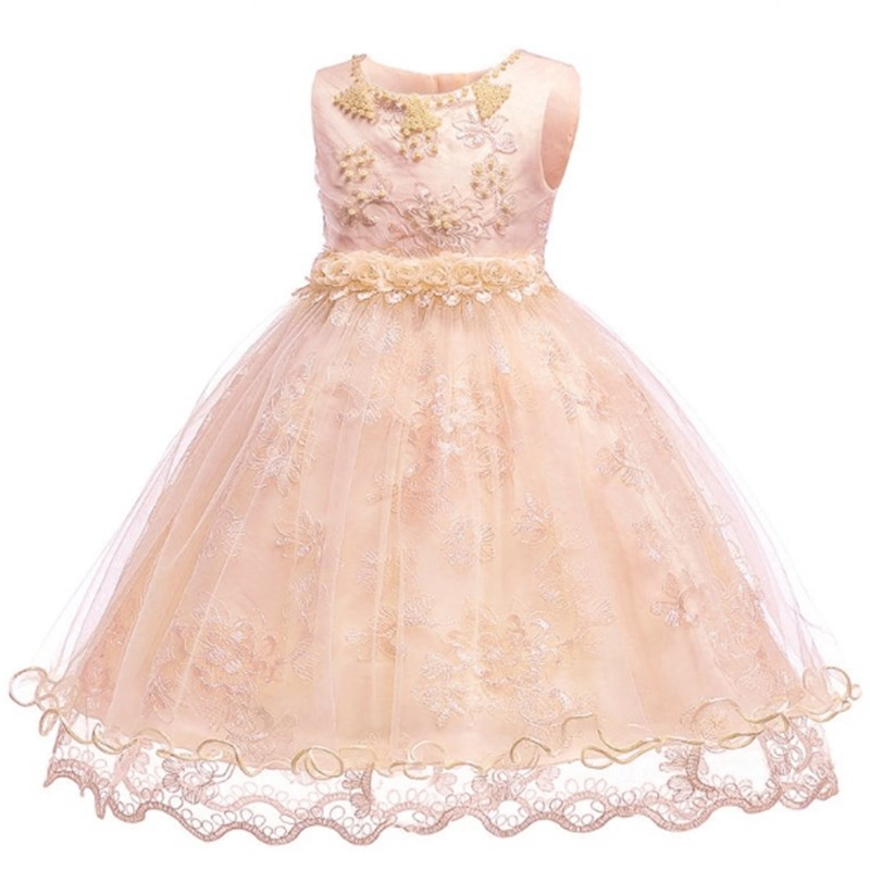 Flower Girls Dress Vestidos Baby Sleeveless Floral Embroidered Bowknot Beads Princess Party Dress Appliques Infant Gown Dresses