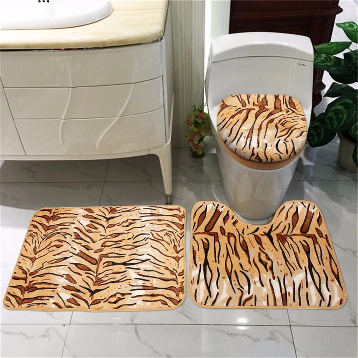 3 pz bagno tappetino da bagno tappeto set pelle di animale stampa contorno mat coperchio coperchio
