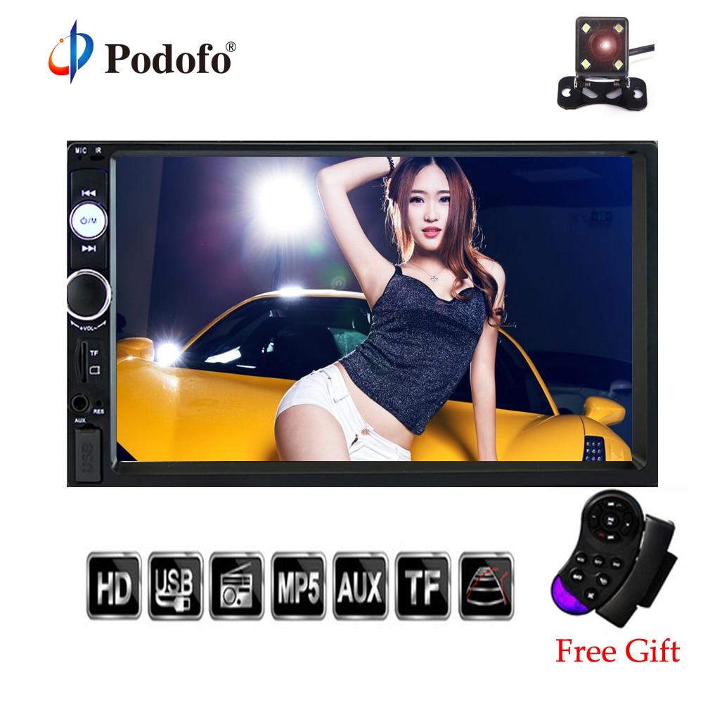 Podofo 2 din Car Radio 7 HD Player MP5 Touch Screen Digital Display Bluetooth Multimedia USB Autoradio Car Backup Monitor 7023B