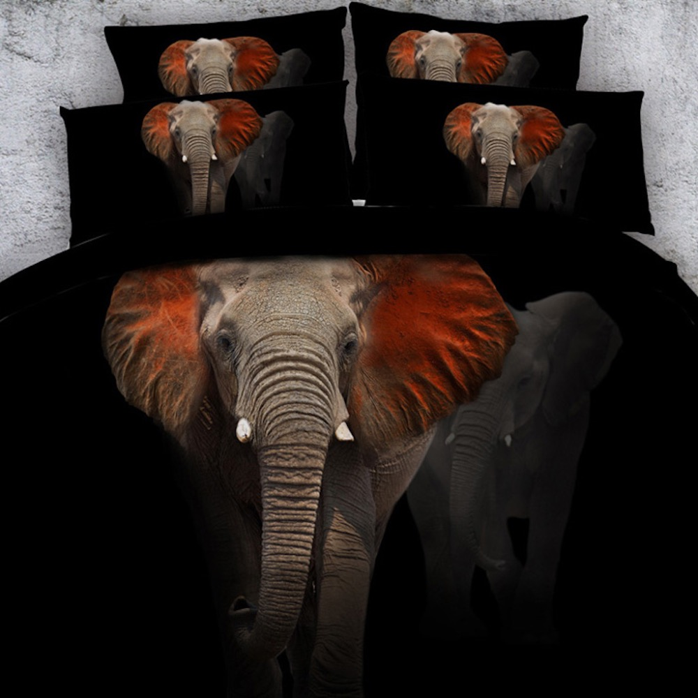 Royal Linen Source 3 pcs per set Majestic red eared Elephant 3d bed set Children Bed Linens with Children Bed Sheet