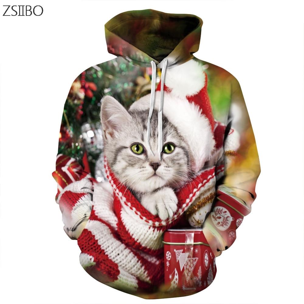 Generous Harajuku Cat Christmas 3d Digital Print Streetwear Mens Hoodies Hip Hop Women Pull Christmas Hoodie Couple Sd03 Buy Now Men's Clothing