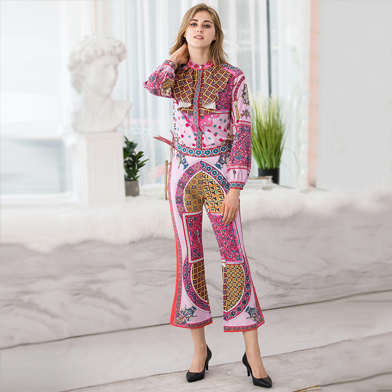Volants Femelle Blouse Costume Mode Pantalon Lanterne À Hiver De Ensembles Flare Pièces 2018 Automne Femmes Imprimer Manches 2 Chemise zPfgqqZwT