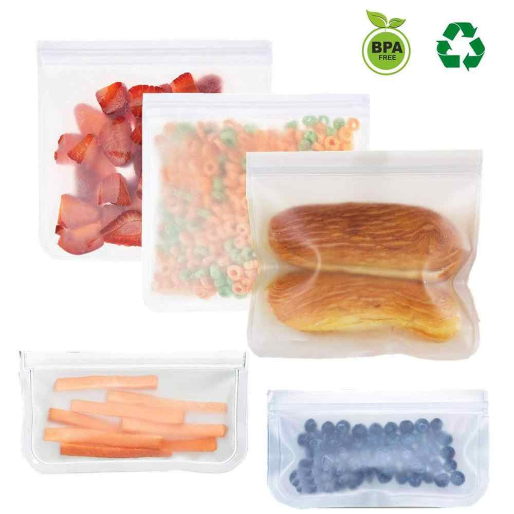 4PCS Reusable Zip Lock Top Leakproof Containers Kids Lunch Snacks /Sandwich/ Fruit/ Freezing /Freezer Food bags Kitchen Storage