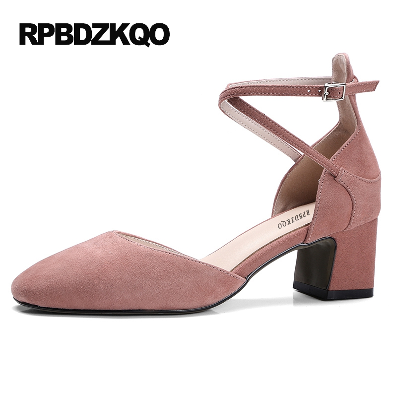 2017 Thick Pink Party Square Toe High Heels Medium Size 4 34 Women Ankle Strap Dress Shoes Pumps Classic Sandals New Chinese sandals metal strap pumps square toe beige vintage medium 2017 women shoes high heels size 33 slingback belts block chinese