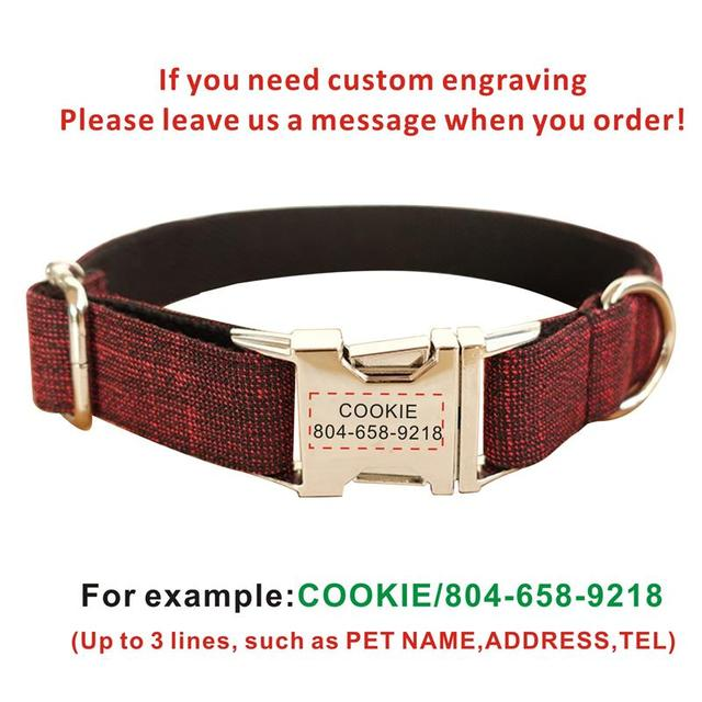 Dog Collar Personalized Plaid Suit Faber Custom Puppy Cat Name ID Tag Adjustable Basic Collars Leads Learsh Set Pet Accessory  My Pet World Store