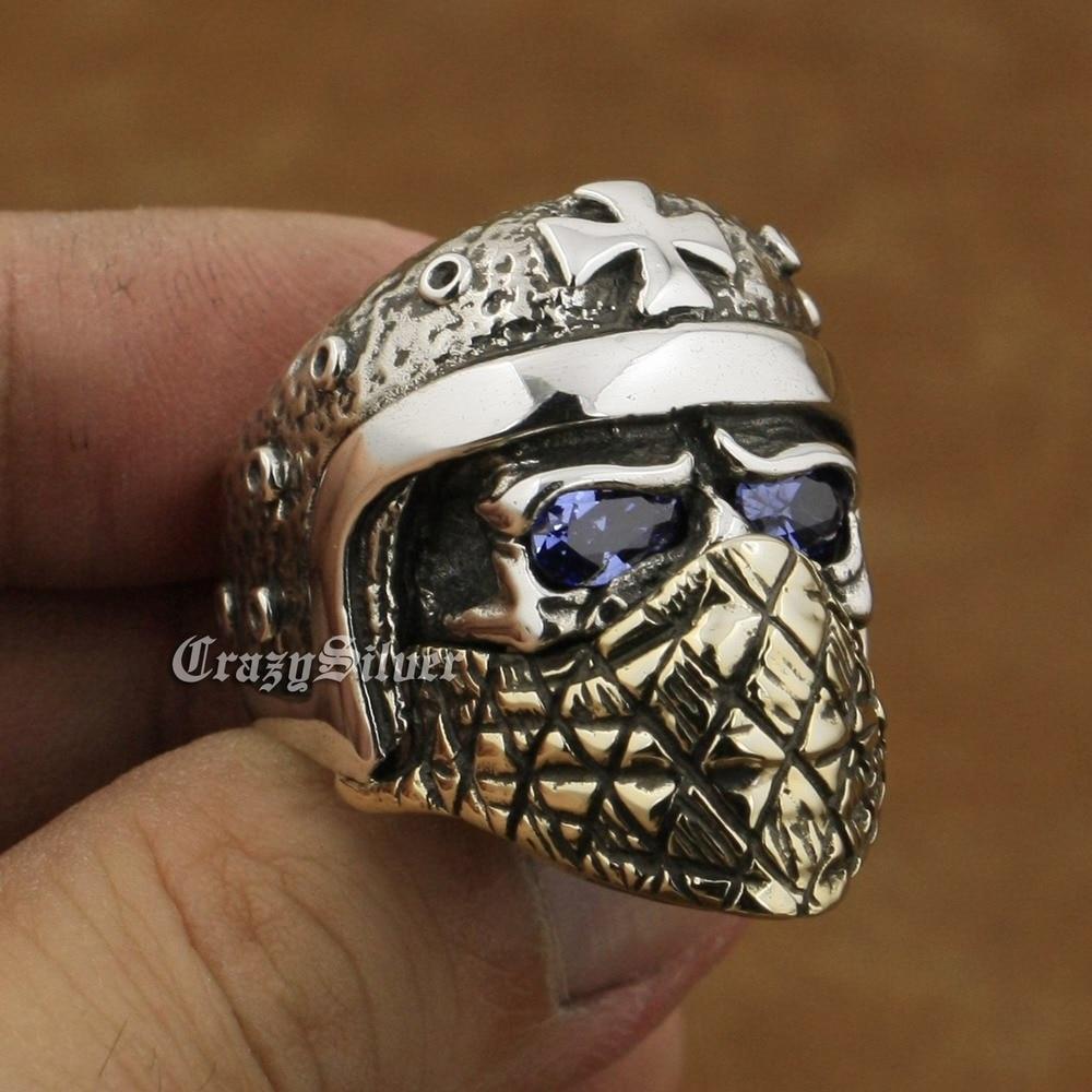 925 стерлингового серебра мотоциклетный шлем череп кольцо фиолетовый CZ Средства ухода для век Латунь маска ta28a