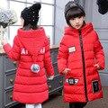 Sección larga de las muchachas de Invierno Abajo engrosamiento Chica campera de abrigo de los Bebés Casual con capucha de Down y Parkas Niños Chaquetas Abrigos