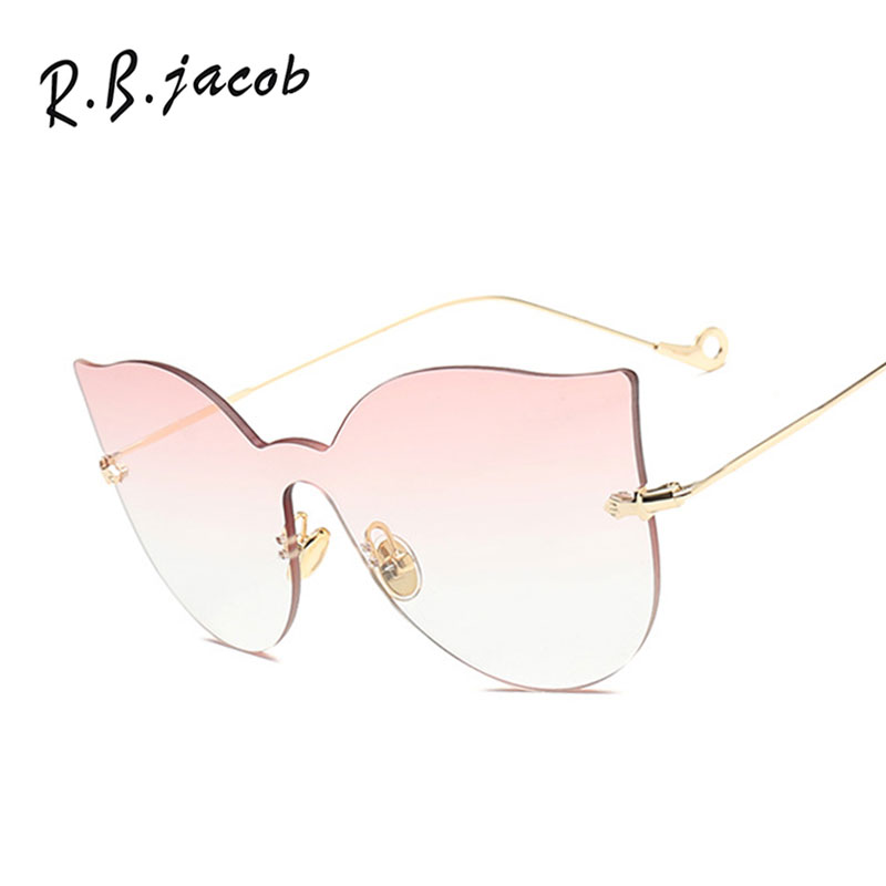 2017 Cat Eye Rimless Women Sunglasses For Men Trend Metal Frame High Quality Female Lady Eyewear UV400 Hipster Charm Vintage Hot