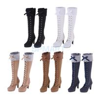 Stylish 1/3 BJD Shoes Suede Knee High Boots Zipper Martin Boots With Bowknot For Dollfie for DOD Doll High Heels Winter Clothing