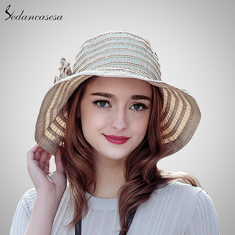Women Foldable Sun Hat Straw Hat Stripe Flower Decoration Summer Beach Hat  Sun-shading Wide Brim Cap SW120013 5b69445eb6f9