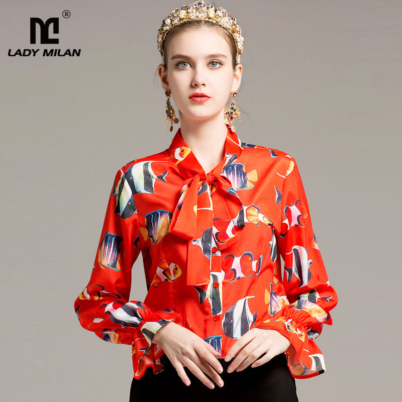 New Arrival 2018 Womens Bow Collar Long Sleeves Printed Fashion Designer Shirts