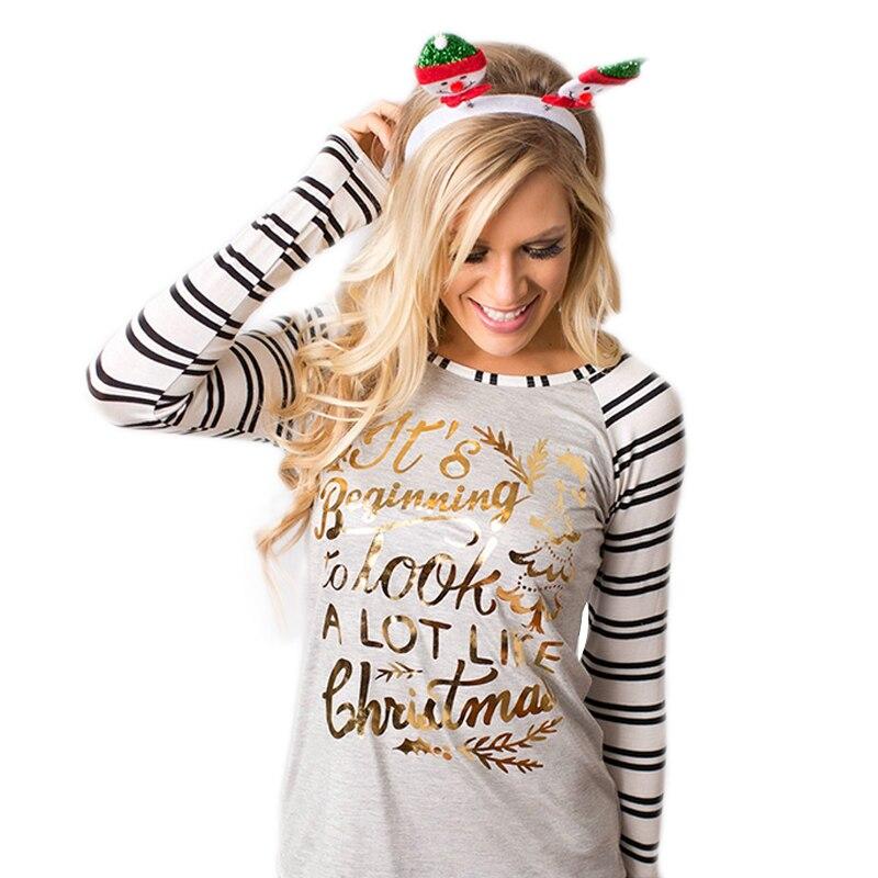 Fall 2016 Letter Print Christmas Shirts Women Graphic Tees Striped Long Sleeve Raglan T Shirt ...