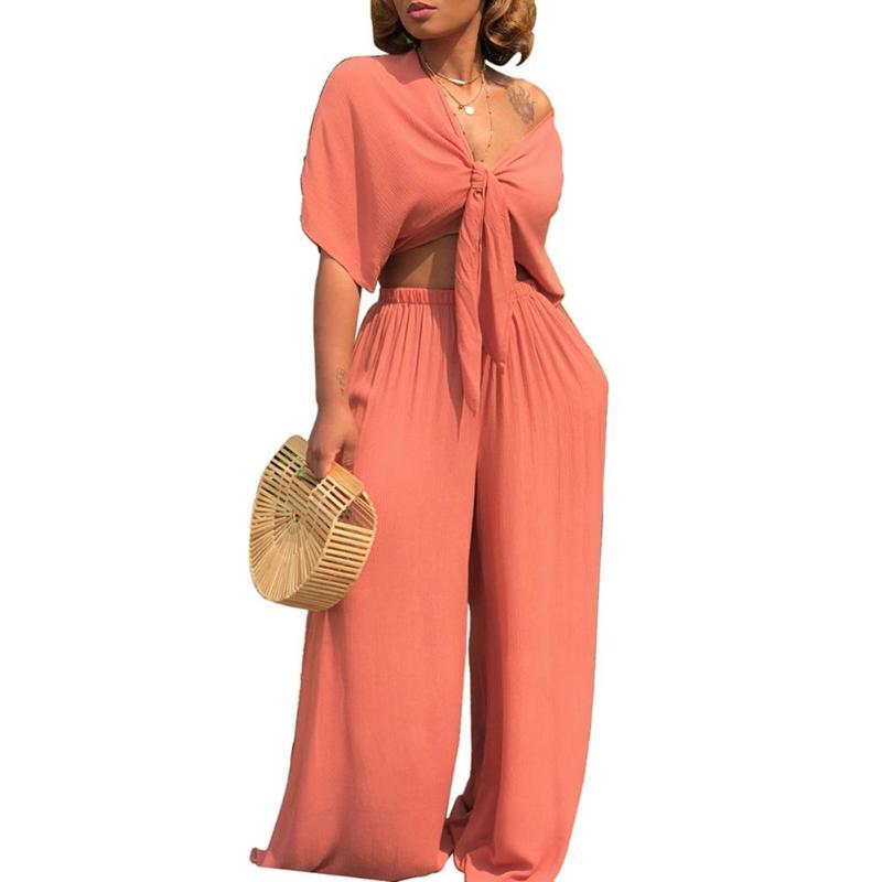 Women Fashion Striped Loose Long Shirt Wide Leg Pants Set Clubwear Casual  2pcs