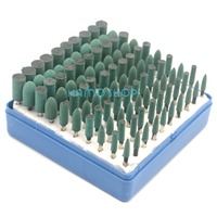 Rubber Mounted Rotary Tool Polishing Grinding Wheel Set 100pcs 3mm Shank For Dremel