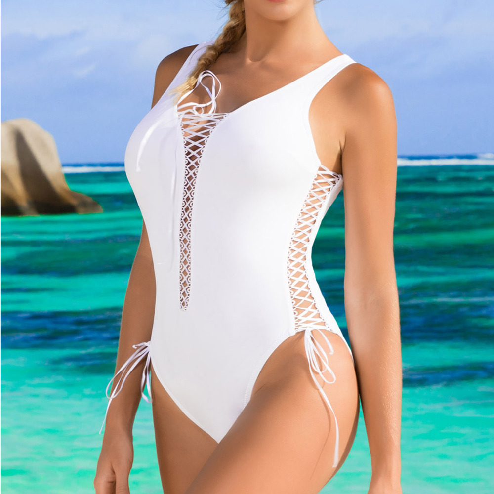 2017 New One Piece Swimsuit Womens Strappy Multi-ties Push Up Deep V Neck Bikini One Piece Monokini Beach Wear Bathing Swimwear twister family board game that ties you up in knots