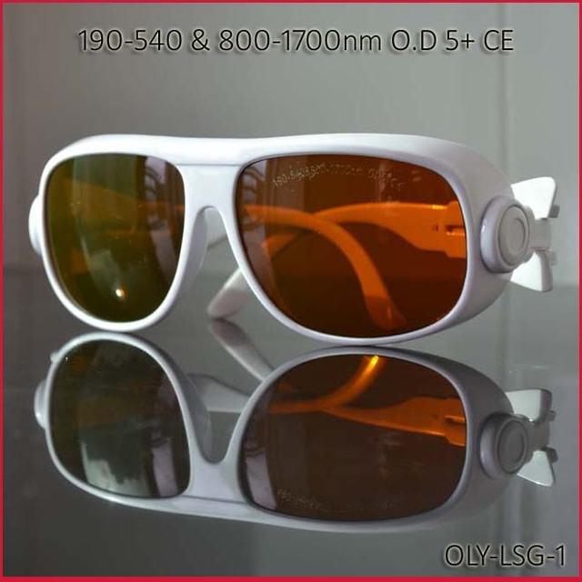 laser safety glasses for 190-540nm&800-1700nm 266nm,405-450nm 532 808 980 1064 to 1610nm O.D 5+ CE