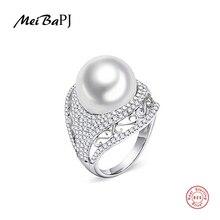 MeiBaPJหรูหรา 925 แหวนเงินแท้ 100% ประดับแหวนผู้หญิงเกรดAAAA 10 11 มม.สีขาวpearl TZ 146Y JZ