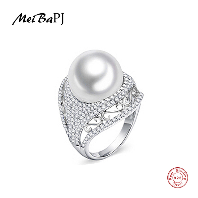 MeiBaPJ Luxurious 925 Silver Ring With 100% Genuine Freshwater Pearl Ring For Women Grade AAAA 10 11mm White Pearl TZ 146Y JZ