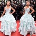 Blake Lively 2016 Cannes Festiva Azul Flores de La Colmena de La Celebridad Vestidos Scoop Escote Palabra de Longitud Vestido de Bola de la Alfombra Roja