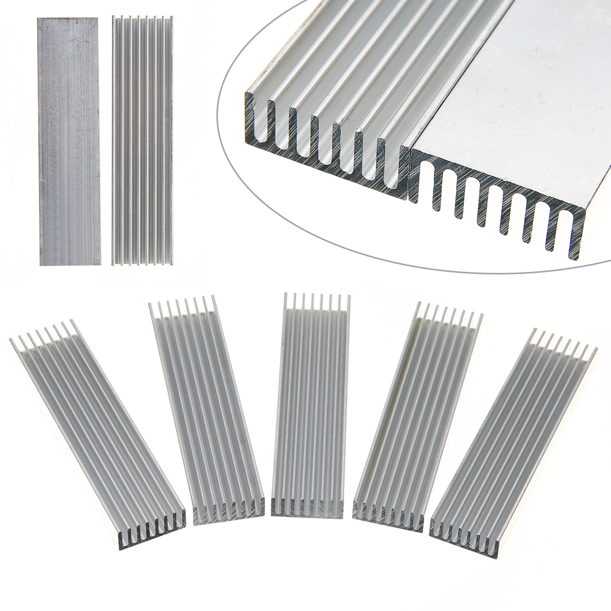 5pcs Silver Heatsink Cooler Mayitr Aluminum Heat Sink Chip 100*25*10mm for IC LED Power Transistor Heat Dissipation hot 5pcs 19 19 5mm high quality aluminum heat sink for led power memory chip ic diy