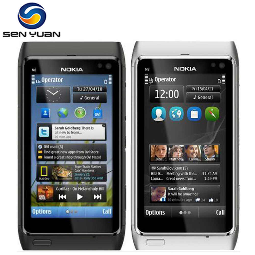 "Nokia N8 Handy 3G WIFI GPS 12MP Kamera 3,5 ""Touch screen 16GB Speicher billig N8 Zelle telefon"