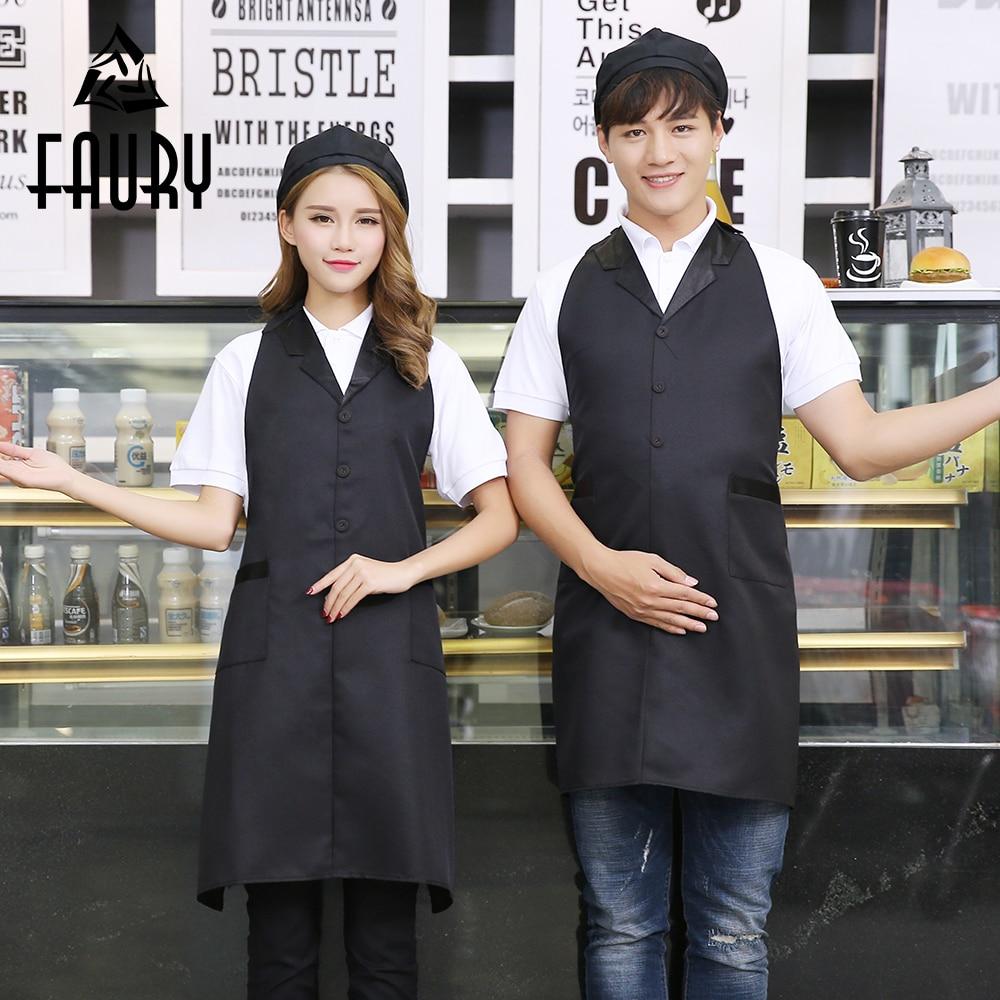 Unisex Work Wear No Sleeve Aprons Suit Collar Adjustable Neck Waist Hotel Cafe Restaurant Supermarket Waiter Waitress Uniforms