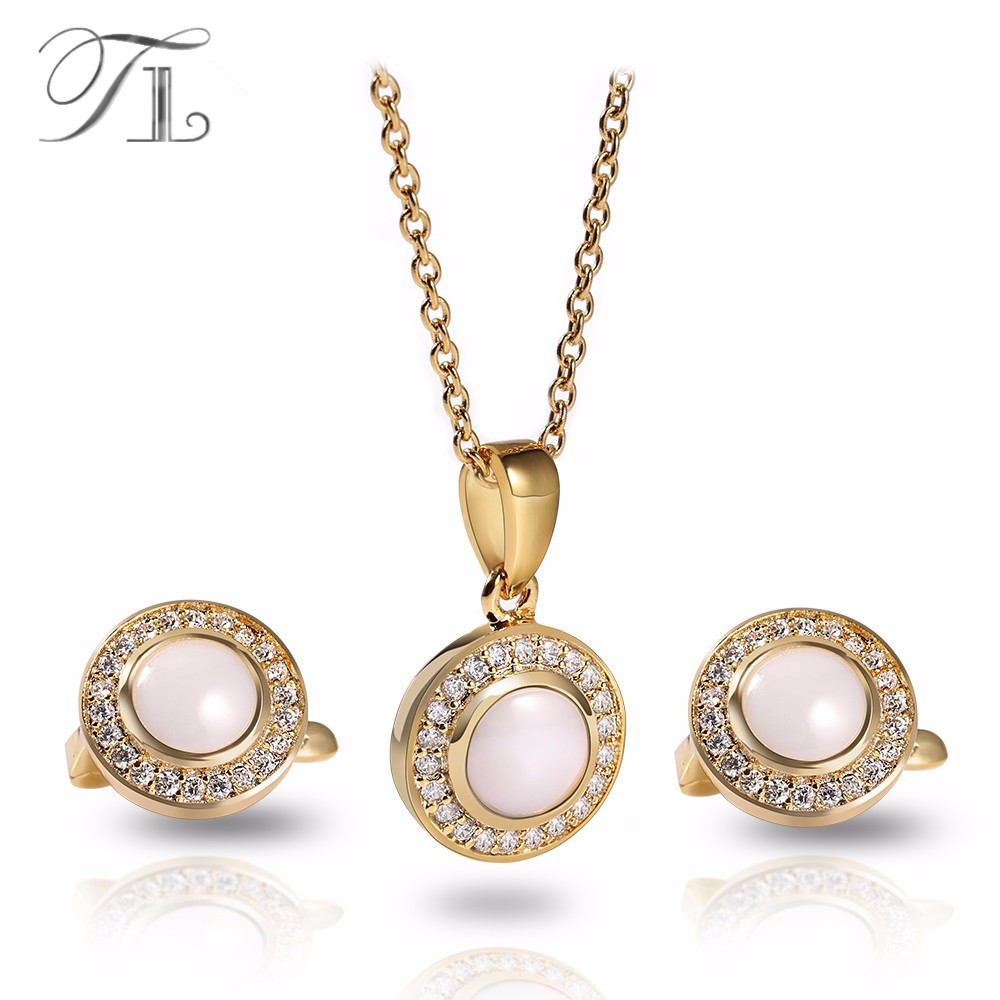 TL Luxury Ceramic Jewelry Sets European Classic Zircon Stainless Steel Golden Jewelry Sets AAA+ High Quality Wedding Jewelry Set
