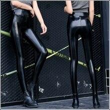 Sexy PU лакированной кожи шерстяные теплые леггинсы женские черные высокой талией эластичный Bodycon