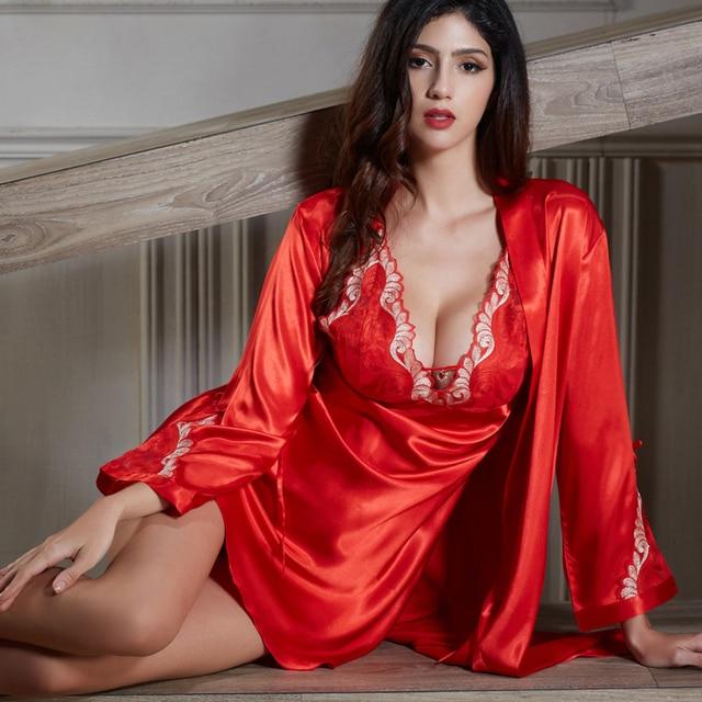 XIFENNI Silk Bathrobes Female Embroidery Nightgowns Chinese Red Twinset Sleepwear Softness Imitation Silk Nightdress 6625