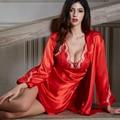 XIFENNI Suavidad Albornoces de Seda Bordado Femenino Del Twinset ropa de Dormir Camisones Chino Rojo de Imitación de Seda del Camisón de 6625
