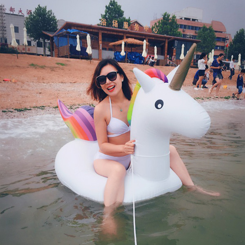 Image 4 - Rooxin Giant Unicorn Floating Pool Swimming Ring Air Mattress Inflatable Swimming Circle Pool Float Row Tube Water Party ToysSwimming Rings   -