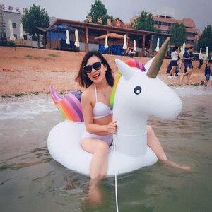 Image 4 - Rooxin dev Unicorn yüzen havuz yüzme simidi hava yatağı şişme yüzme daire havuzu şamandıra satır tüp su parti oyuncakları