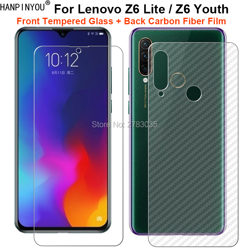 For Lenovo Z6 Lite / Z6 Youth 1Set= Soft Back Carbon Fiber Film + Ultra Thin Clear Premium Tempered Glass Front Screen Protector