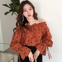 Mazefeng Summer Autumn Female Sunscreen Shirt Women Lantern Sleeve Ladies Bow Slash Neck Shirts Polka Dot