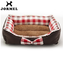 2017 new high quailty House Soft Warm Bow Lace Square Red Blue Grid Cat Dog Bed Cute Kennel Nest Fleece Camas Para Perros