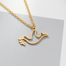Gold Cuckoo Necklace Stainless Steel Chain Peace Bird necklaces & pendants For Womens Clothing Accessories Jewelry
