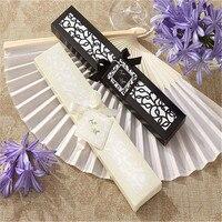 50/100 pz/lotto Personalizzato Lussuoso Piega Di Seta mano Fan in Elegante Laser-Cut Gift Box + Festa di Nozze Favori/Regali di nozze