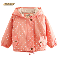 Jackets For Girls Autumn Pink Jacket 2017 Fashion Kids Hooded Coat Polka Dot Casual Children Outwear
